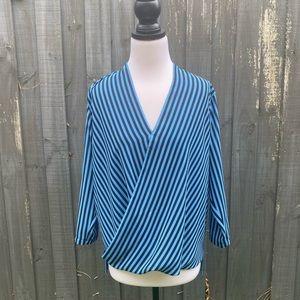 Michael Kors Blue Stripes V Neck Blouse Top S